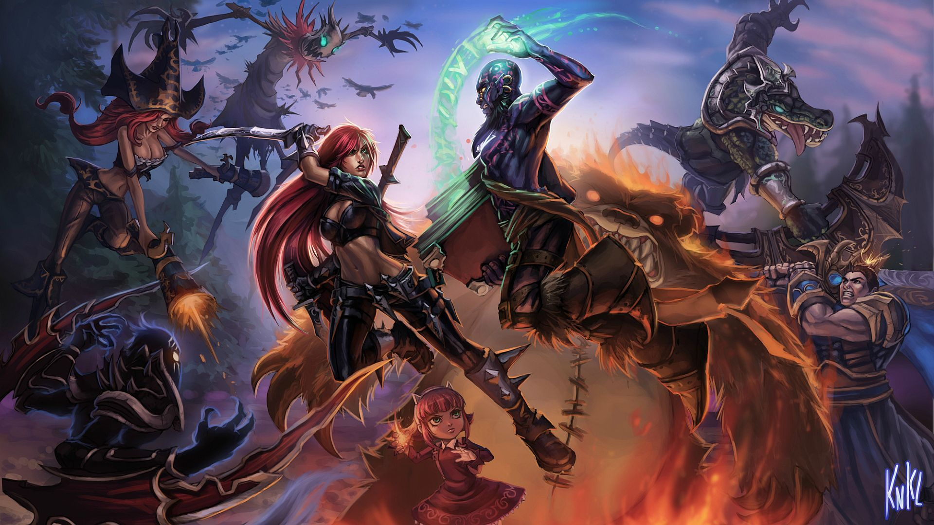 Katarina, Nocturne, Fiddlesticks, Miss Fortune, Renekton, Annie and Tibbers Vs Ryze and Garen
