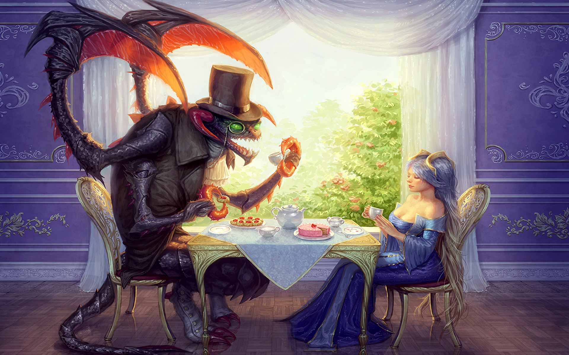 Cho'Gath and Sona tea drinking