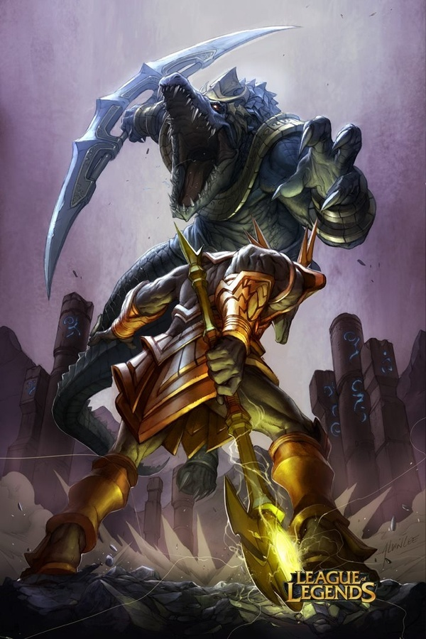 nasus vs renekton league of legends fanart artoflol
