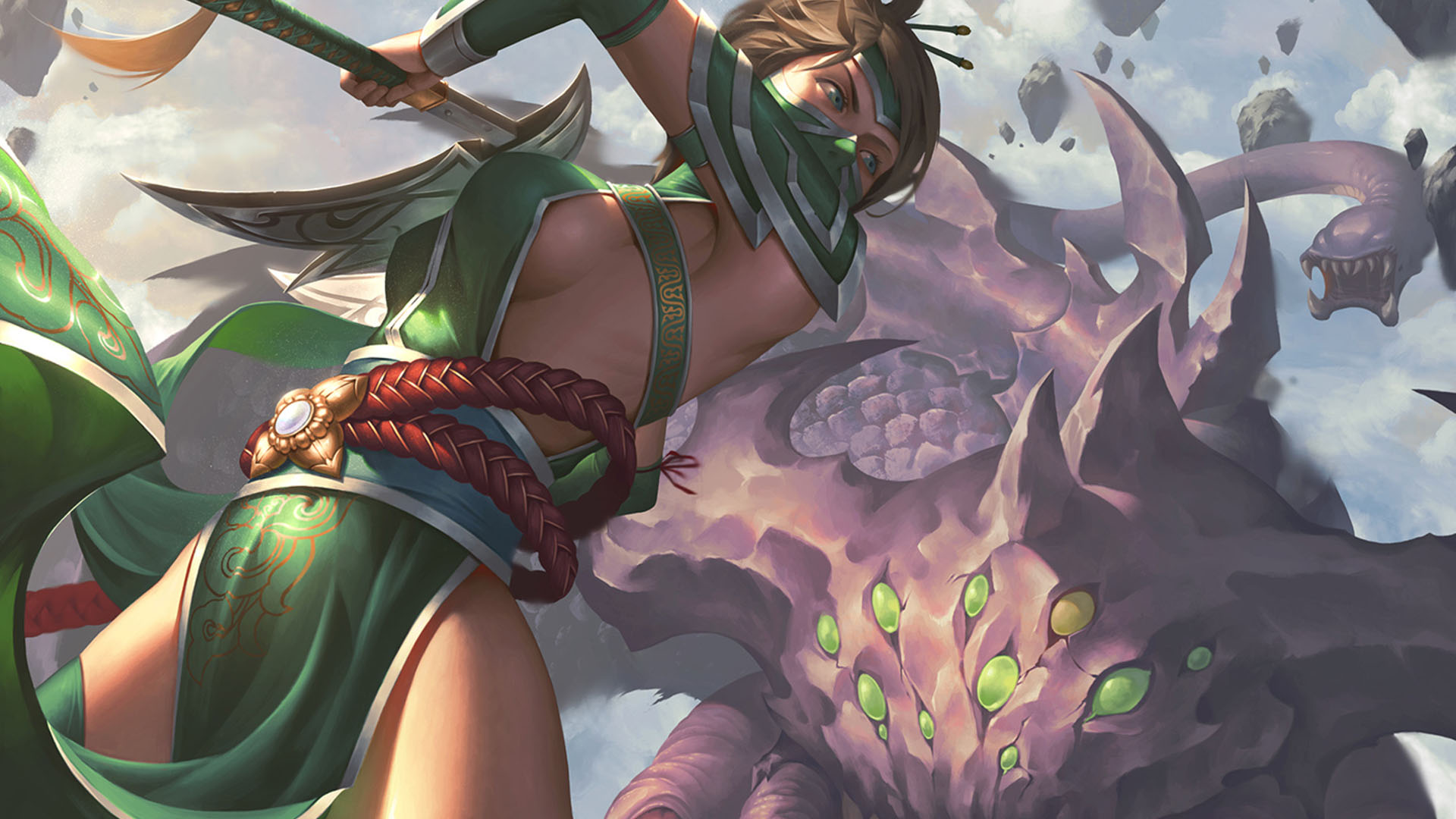 Akali Vs Nashor League Of Legends Wallpaper HD 1920x1080