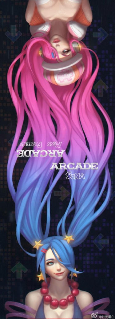 arcade sona and arcade miss fortune fan art league of