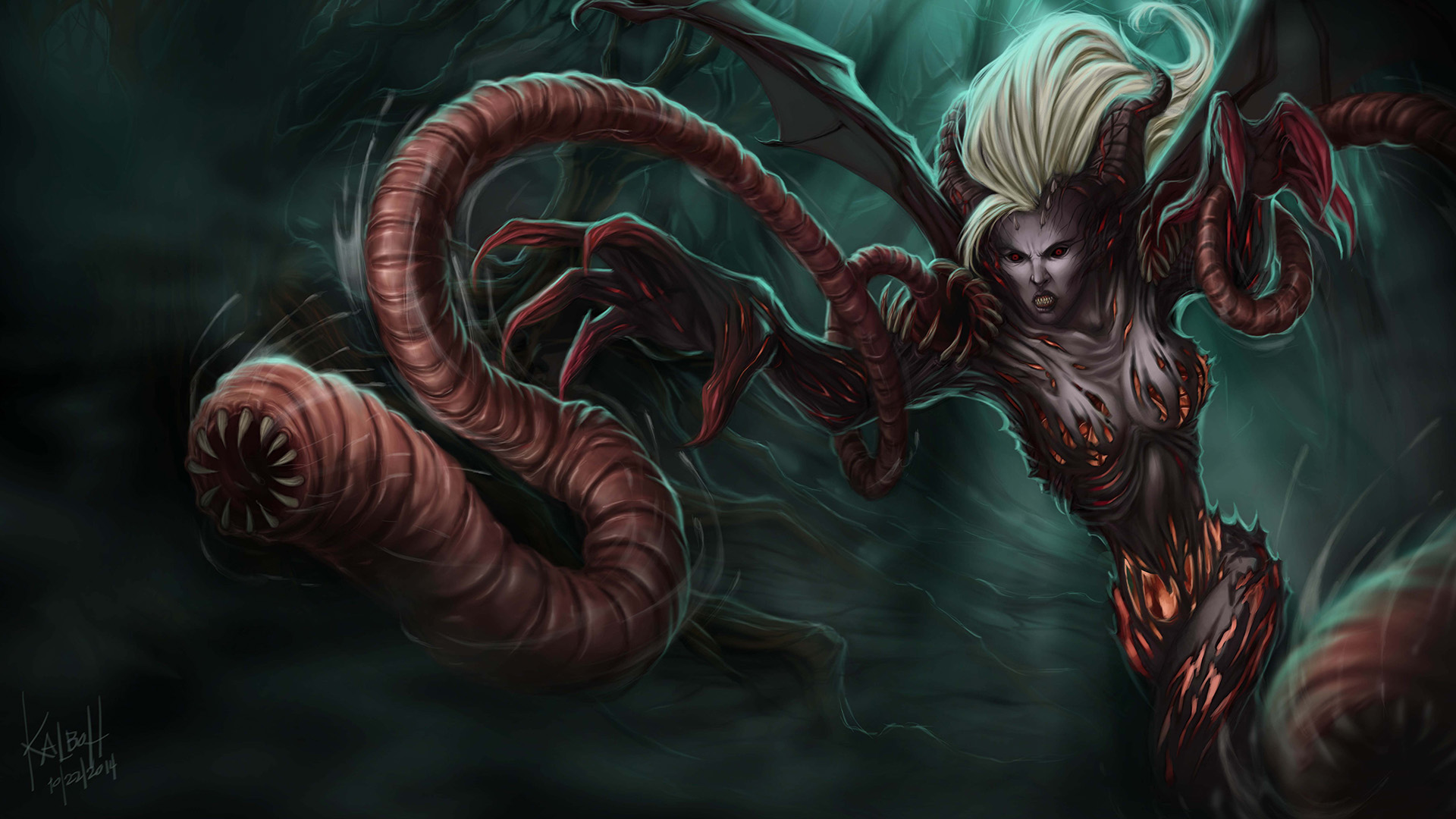 Demonic Zyra League Of Legends Wallpaper HD 1920x1080