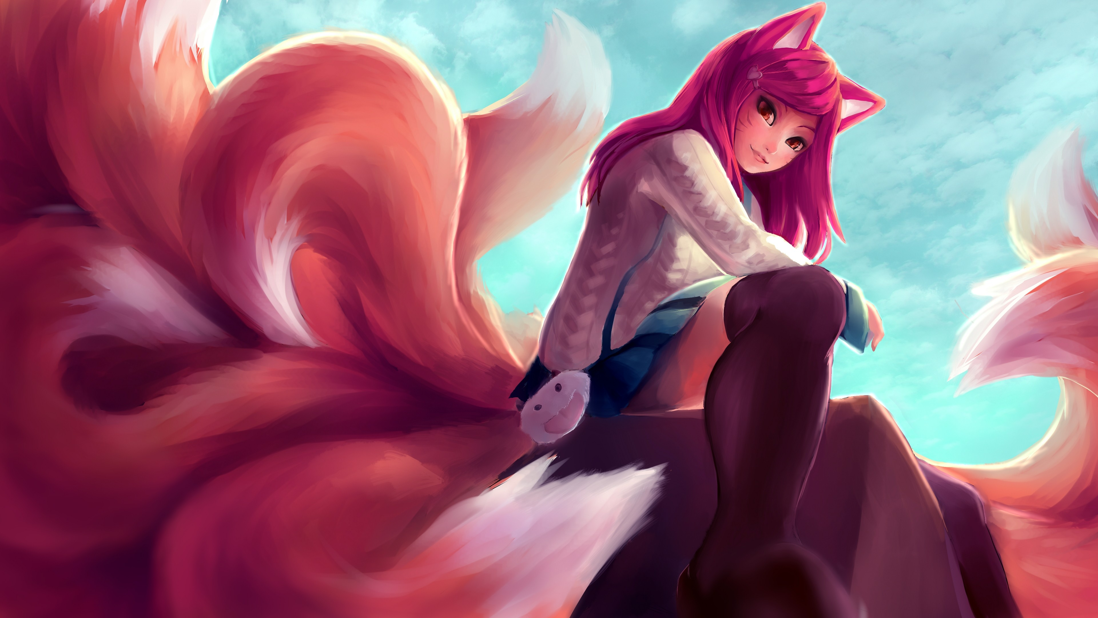 Academy Ahri League Of Legends Wallpaper HD 3840×2160